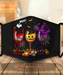 Three Glasses Of Wine Pumpkin Witch Skull Halloween Face Mask