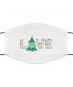 Cute I Love Christmas Xmas Pattern Typography Art Face Mask
