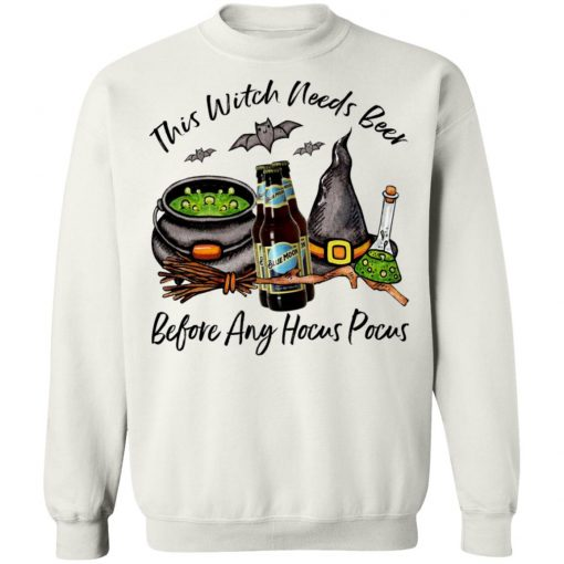 Blue Moon White Ale Bottle This Witch Needs Beer Before Any Hocus Pocus Shirt