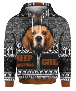 Beagle Keep Christmas Great 3D Ugly Christmas Sweater Hoodie