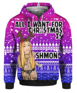 Cardi B All I Want for Christmas is Shmoney 3D Ugly Christmas Sweater Hoodie