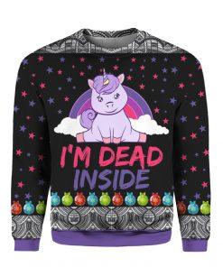 Unicorn I_m Dead Inside Christmas 3D Ugly Sweater Hoodie