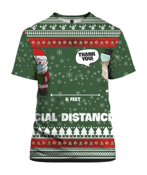 6 Feet Social Distancing Border Collie And Santa Claus 3D Christmas Ugly Hoodie Sweater