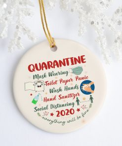 2020 Quarantine Christmas Funny Christmas Ornament Keepsake Circle Porcelain Ornament
