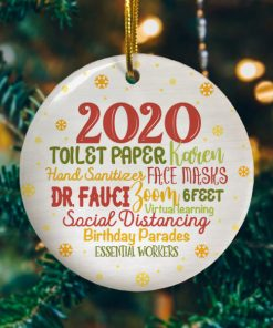 2020 Christmas Quarantine Funny Pandemic Christmas Lockdown Decorative Christmas Holiday Ornament