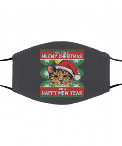 Wish You A Meowy Christmas And A Happy New Year Ugly Christmas face mask