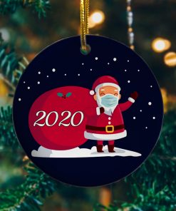 2020 Christmas Cute Santa Wear Mask With Gift Christmas Ornament Keepsake Decorative Ornament Funny Holiday Gift