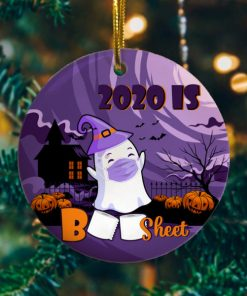 2020 Is Boo Sheet Cute Ghost Funny Halloween Circle Ornament