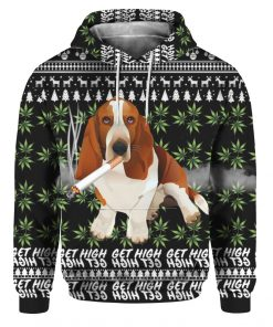 Basset Hound Get High Cannabis 3D Ugly Christmas Sweater