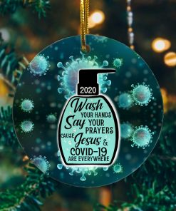 2020 Hand Sanitizer Decorative Christmas Ornament – Holiday Flat Circle Ornament