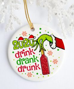 2020 Drink Drank Drunk Green Hand Holding Wine Decorative Christmas Holiday Ornament