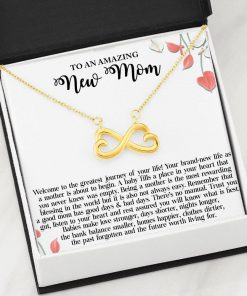 To An Amazing New Mom Welcome To The Greatest Journey Of Your Life Infinity Heart Necklace3