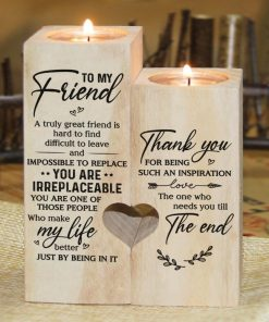 To My Bestie - You Are Irreplaceable - Candle Holder With Heart