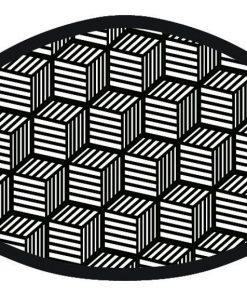3D Cube Design Black Print Face Mask