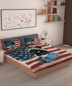 Black Cat Boss American Flag Bedding Set