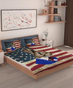 Brown Rabbit American Flag Bedding Set