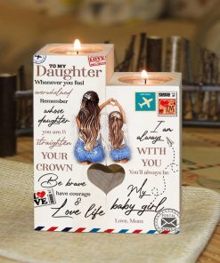 Mom To Daughter - Be Brave, Have Courage & Love Life - Candle Holder With Heart