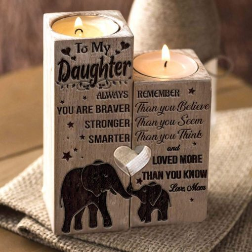 Mom To Daughter - You Are Loved More Than You Know - Candle Holder With Heart
