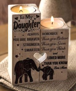 Mom to Daughter - You Are Loved More Than You Know - Engraved Candle Holder With Heart