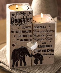 Mum to Daughter - You Are Loved More Than You Know - Engraved Candle Holder With Heart