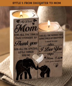 My Dear Mom I Need To Say I Love You Engraved Form Daughter Candle Holder With Heart