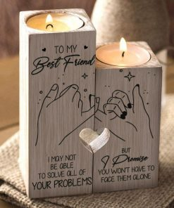 To My Bestie - I Promise You Won't Have To Face Them Alone - Candle Holder With Heart