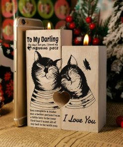 To My Darling - You're My Missing Piece - Candle Holder With Heart