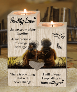To My Love As We Grow Older Together - Candle Holder With Heart