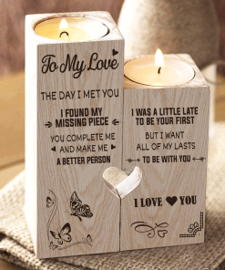 To My Love You're My Missing Piece - Candle Holder With Heart