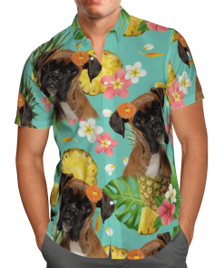 Tropical Pineapple Boxer Hawaiian Shirt, Beach Shorts