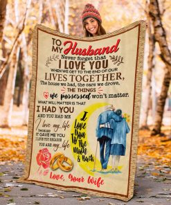 From Wife To My Husband Never Forget That I Love You To The Moon And Back Fleece Blanket, Mink Sherpa Blanket