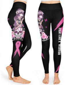 Breast Cancer Gift Fight Like A Warrior High Waist Leggings