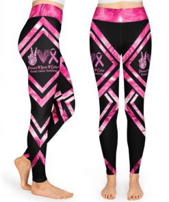 Peace Love Cure Breast Cancer Awareness High Waist Leggings