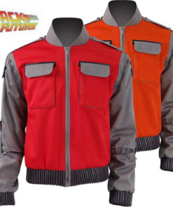 Back to The Future Marty McFly Costume High quality cosplay Orange Red Outwear Coat 1