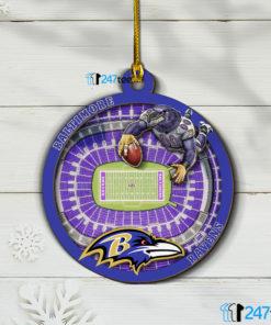 Baltimore Ravens 3D Stadium Christmas Wood Ornament 1