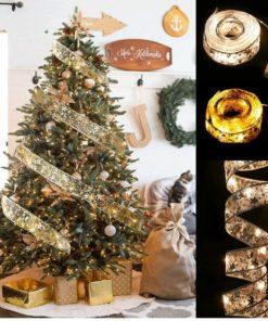Christmas Lights Ribbon Merry christmas Decorations For Home 2021 Christmas Ornaments Xmas Tree Decor