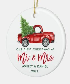 Custom Name Vintage Red Truck Mr and Mrs First Christmas Ornament 1