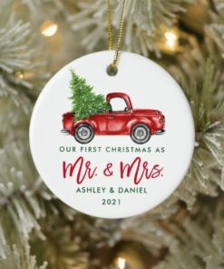 Custom Name Vintage Red Truck Mr and Mrs First Christmas Ornament