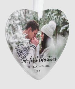 Custom Photo Our First Christmas Couple Heart Ornament 1