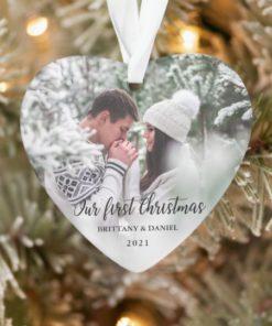 Custom Photo Our First Christmas Couple Heart Ornament