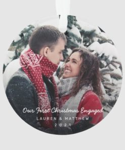 Custom Photo Our First Christmas Engaged Ornament 1