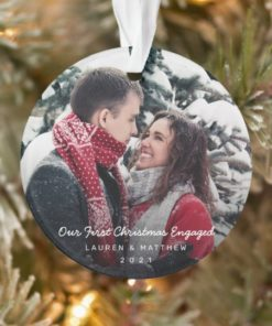 Custom Photo Our First Christmas Engaged Ornament