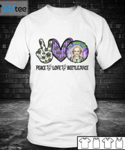 Men T shirt Beetlejuice Its Show Time Peace Love Halloween Shirt