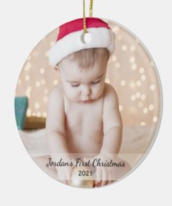 Personalized Babys First Christmas Photo Name Year Ornament 1
