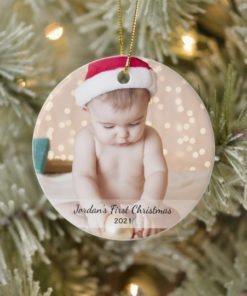 Personalized Babys First Christmas Photo Name Year Ornament