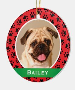 Personalized Dog Name Photo Red Pet Paw Prints Ornament 1