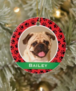 Personalized Dog Name Photo Red Pet Paw Prints Ornament