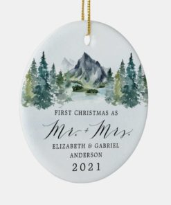 Personalized First Christmas Mr and Mrs Mountains Trees Wedding Ornament 1