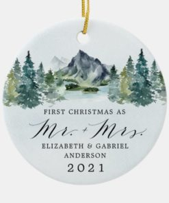 Personalized First Christmas Mr and Mrs Mountains Trees Wedding Ornament