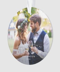 Personalized Our First Christmas Mr and Mrs Wedding Photo Ornament 1